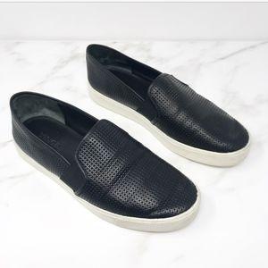 Vince Blair Black Leather Slip On Sneakers 7.5